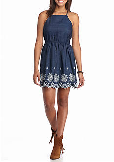 Red Camel Embroidered Chambray Dress