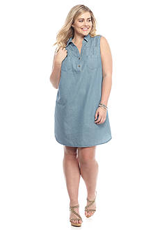 Red Camel Plus Size Chambray Shirtdress