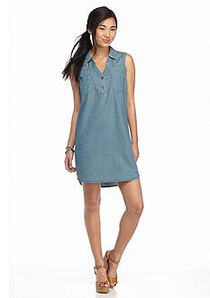 Red Camel Chambray Sleeveless Dress