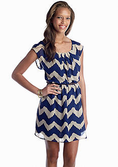 Red Camel® Belted Chevron Dress