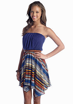 Red Camel® Belted Tribal-Print Dress