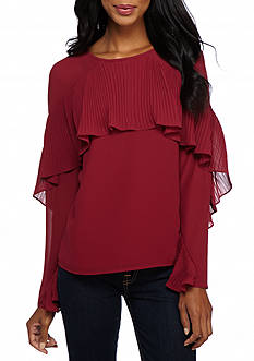 Sunday in Brooklyn Pleated Shoulder Wrap Blouse
