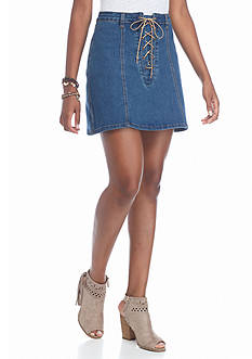 Indigo Rein Denim Lace up Skirt