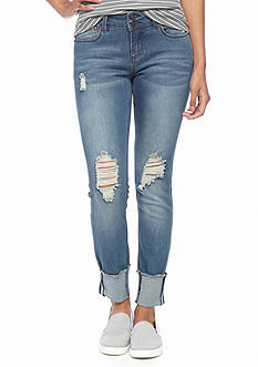 Indigo Rein Dark Destructed Skinny Jeans