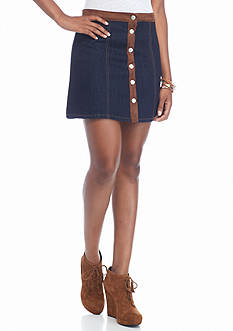Indigo Rein Suede Trim Button Up Skirt