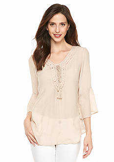 Spense Embroidered Blouse with Tassels