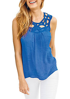 Spense Sleeveless Open Work Top