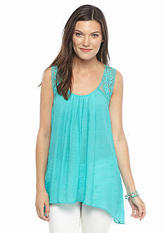 Spense Sleeveless Slub Crochet Tank Top