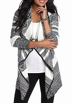 Oh M G! Jacquard Cardigan with Suede Trim