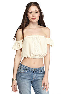 Oh M G! Off the Shoulder Crochet Front Cropped Blouse