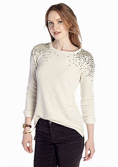 crown & ivy™ Sequin Shoulder Tennis Tail Sweatshirt