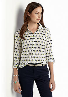Tops Womens White Collared Amp Button Down Belk