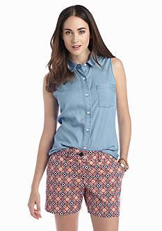 crown & ivy™ Sleeveless Chambray Shirt