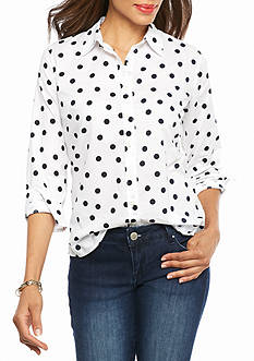 crown & ivy™ Scattered Dot Shirt