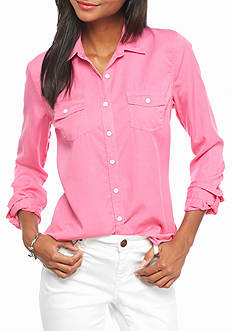 crown & ivy™ beach Colored Tencel Shirt
