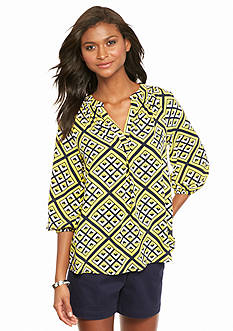 crown & ivy™ Archi Geo Peasant Blouse