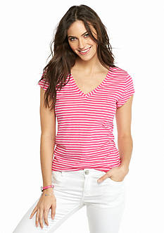 crown & ivy™ Stripe V-Neck Tee