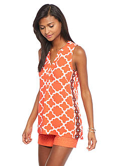 crown & ivy™ Sleeveless Moroccan Medley Peasant Top