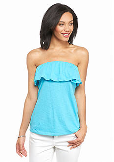 crown & ivy™ Solid Ruffle Bandeau Top