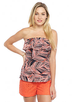 crown & ivy™ Palm Ruffle Bandeau Top