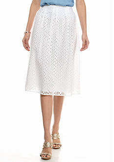 crown & ivy™ Eyelet Mid Skirt