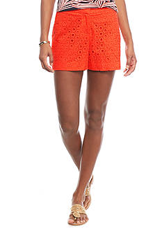 crown & ivy™ Solid Eyelet Shorts