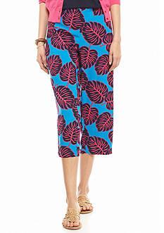 crown & ivy™ Leaf Print Soft Crop Pants