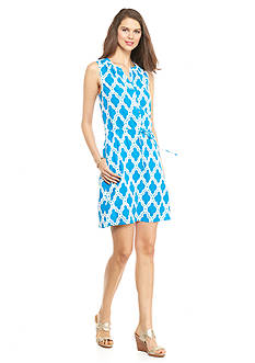 crown & ivy™ Printed Sleeveless Button Front Drawstring Dress