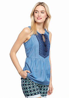 crown & ivy™ Sleeveless Embroidered Chambray Peplum Top
