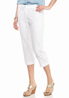crown & ivy™ Solid Eyelet Capri Pants