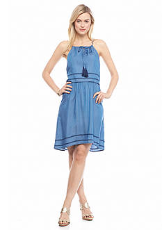 crown & ivy™ Halter Popover Chambray Dress