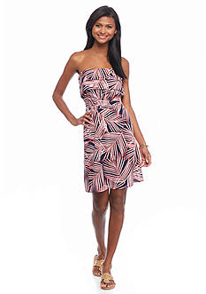 crown & ivy™ Leaf Ruffle Strapless Dress
