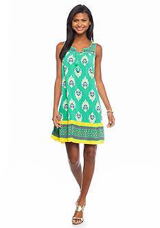 crown & ivy™ Sapphire Border Swing Dress
