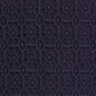 Women's T-shirts: Novel Navy crown & ivy™ Three-Quarter Sleeve Crochet Bib Top
