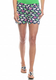 crown & ivy™ Elephant Printed Scallop Shorts