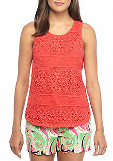 crown & ivy™ Lace Front Swing Tank