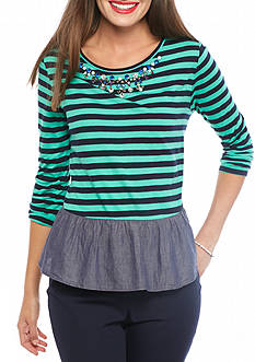 crown & ivy™ Jeweled Stripe Peplum Top