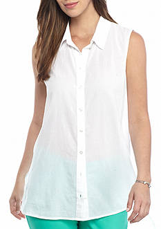 crown & ivy™ Sleeveless Gauze Tunic