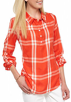crown & ivy™ Plaid Popover Shirt
