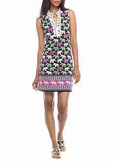 crown & ivy™ Sleeveless Printed Elephant Dress