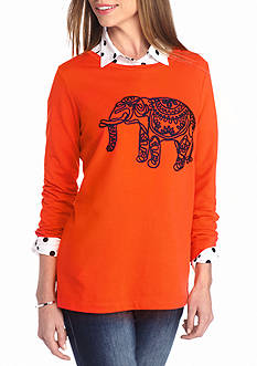crown & ivy™ Elephant Pullover Sweatshirt