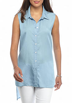 crown & ivy™ Sleeveless Button Up Chambray Tunic Top