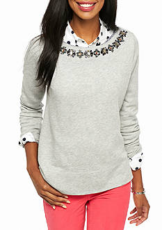 crown & ivy™ Textured French Terry Top