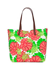 crown & ivy™ beach Water Lily Turtle Tote Bag