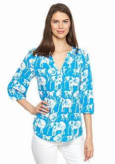 crown & ivy™ Safari Stampede Peasant Top