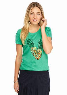 crown & ivy™ Embellished Pineapple Tee