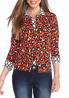 crown & ivy™ Cheetah Chic Cardigan