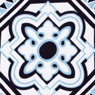 Beach Towels: White/Blue crown & ivy™ Medallion Beach Towel