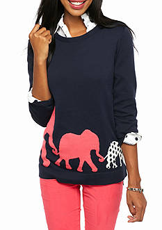 crown & ivy™ Marching Border Elephant Print Sweater