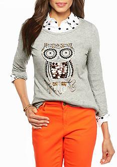 crown & ivy™ Hootin Owl Embellished Tee